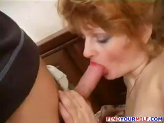 Redhead Nasty Mature Hooker And Young Guy