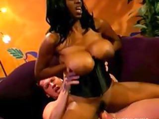 Big tits black MILF fucks a lucky white dude