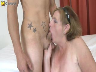 Old granny fucking and engulfing juvenile knob