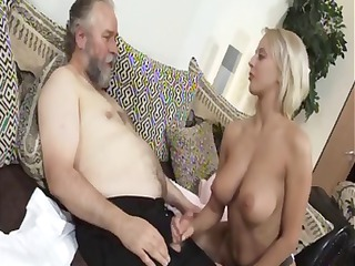 Mature blonde Mandy Dee bounces her big tits as