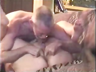 Old mature blonde is getting licked and fucked by