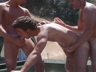 Vintage mature guys drilling outdoor