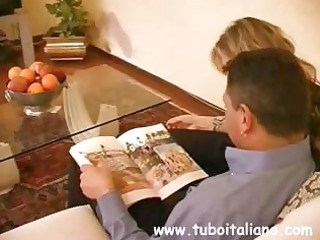 Italian blonde MILF blows him and then gets bent